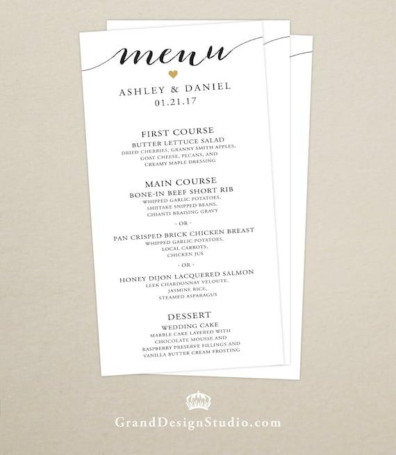 Menu Cards For Wedding Receptions: Wedding Reception Dinner Menu Card Handwritten Script