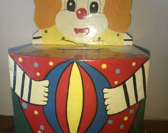 Vintage hand painted clown money box