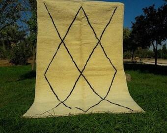 "Large Beni Ourain Moroccan Rug 100% wool rug size 7'9"" x 4'6 Grey"