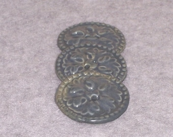 Ceramic Buttons - Round Textured - Three 3 - Slate Blue - Ceramics Pottery