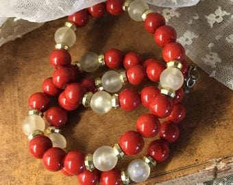 Neat Red and Lemonade Yellow Lucite Bead Necklace Unsigned Single Strand Lipstick Red Gold Spacer Beads Day Wear 1960's 1970's