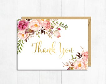 Thank you cards etsy gold floral thank you card boho thank you card boho baby shower thanks flat postcard style thank floral thank you instant download 308 pg altavistaventures Images
