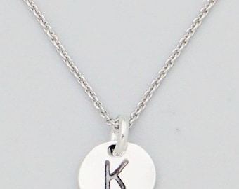 K initial necklace etsy dainty delicate sterling silver minimalist 8mm disc letter k initial necklace aloadofball Image collections