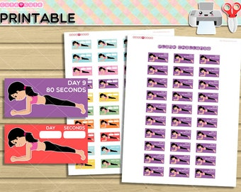 Plank Printable Planner Stikers Tracker Stickers For 15 Boxes Fitness