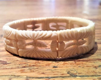 Vintage, Small Carved Bone Bracelet