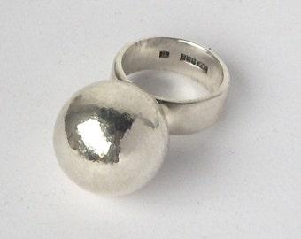 sterling silver big ball ring