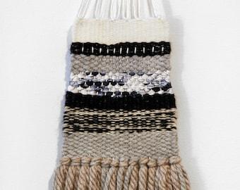 Handmade Mini Tapestry Weaving Wall Hanging/Decor - Grey, tan, black, ivory