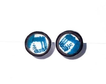 Streak Plate Stud Earrings -- Unique Item -- Petri Dish -- Science jewellery--
