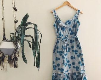 70s Blue Floral Wiggle Dress