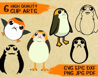 6 Porg svg cut file Clip Arts | Star Wars the Last Jedi | Printable | Vector | iron on