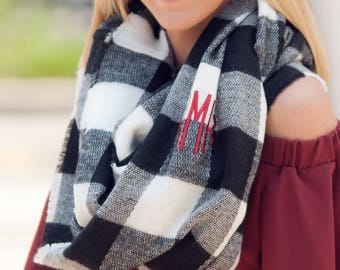 Monogrammed Scarf, Monogrammed Infinity Scarf, Personalized Scarf, Monogram Infinity Scarf, Black & White Buffalo Check Scarf, Scarf