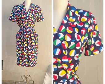 SALE 80s nautical dress / faux wrap tulip dress, short sleeve /womens PETITE 8