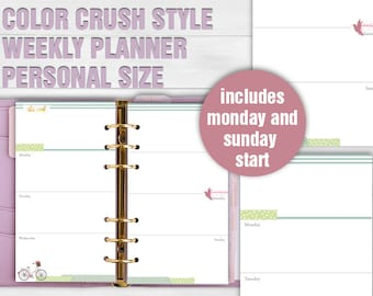 Printable weekly planner personal size color crush style undated week calendar sunday start monday start