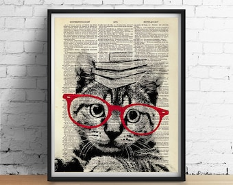 Clever Kitty CAT Print, Cat Poster Glasses Books, Dorm Decor Teachers Gifts, Nursery Wall Art, Black and White Cute Animals, Dictionary Art