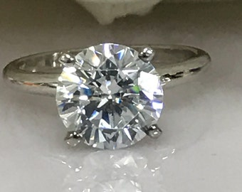 Moissanite Forever One 1.00ct. to 2.00ct  Round Solitaire Engagement Ring In 14k Gold - LIMITED SPECIAL PRICE