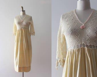 vintage Edwardian dress // 1900s sheer crochet dress