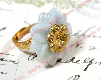 Adjustable Ring Hand Carved Jade Flower with Brass Cherry Blossom in the Center and Raw Brass band Vintage Design