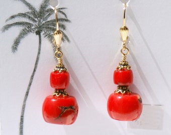 Red Coral earrings / Large Red earrings / Red earrings / Red and Gold / Red Jewelry / Red Coral Jewelry / Red Hot Chili Pepper