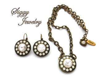 Swarovski® Crystal Large Statement Pendant And/Or Earrings, Clear Crystal Rivoli, White Opal Halo, Antique Brass Chain, Gift Packaged