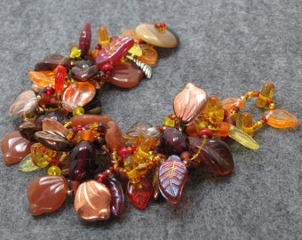 Beaded Bracelet - The Leaf Series - Fall Autumn Leaves by randomcreative on Etsy