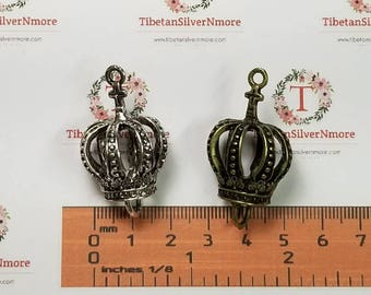 1 pc per pack 20x30mm 3D Crown Link Antique Bronze or Silver Free Pewter