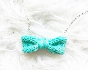 Handmade Womens Gift, Women's Mint Necklace, Knit Mint Bow Tie for Women, Knit Necklace, Green Knitted Bow Tie Necklace, Bow Tie Accessory