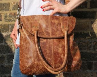 Michele Foldover Bag Tan Scrunchy Leather