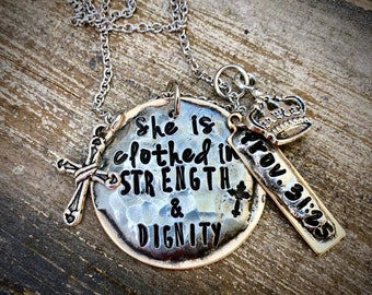 She is clothed in strength and dignity Proverbs 31:25 Necklace Personalized Cross Mixed Metal Hand stamped Christian Jewelry