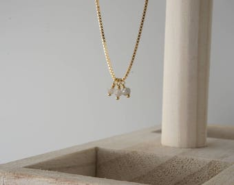 Icy Gray Diamond Beads Gold Filled necklace