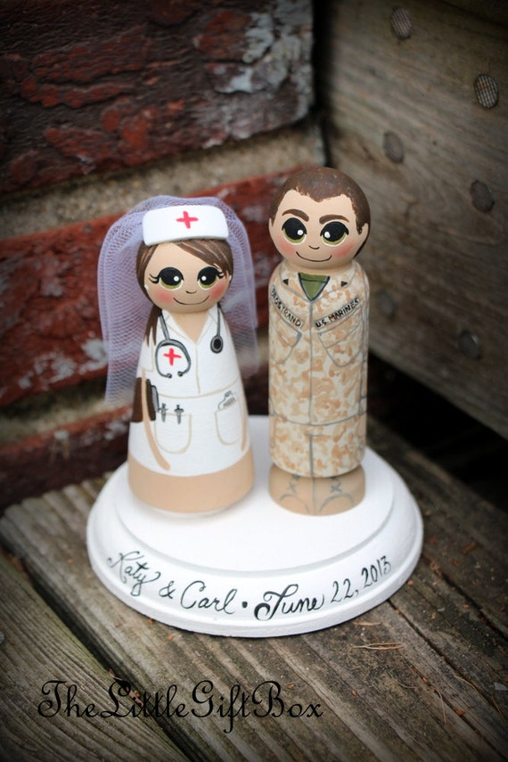 Wedding Cake Topper Wood Peg Dolls With Plaque Nurse And