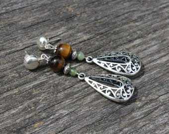 Earrings ethnic silver gem stone Tiger eye stone mineral jewelry style Eastern Bohemian