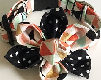 Geometric Triangle  Dog & Cat Collar with Matching Flower