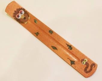 Ash catcher / Incense holder / joss stick holder googly eyed hedgehog and worm