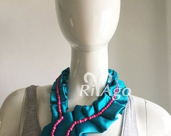 RivAgo tie necklace in blue and hot pink