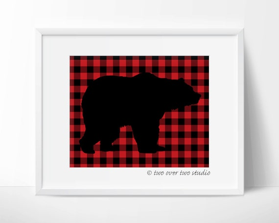 Black Bear Print On Red Buffalo Plaid Background Rustic