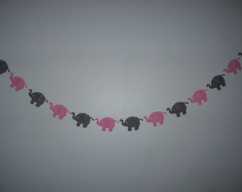 Elephant Garland - Baby Pink and Dark Grey Cardstock Paper Baby Shower Decoration - 4,5,8,10 foot
