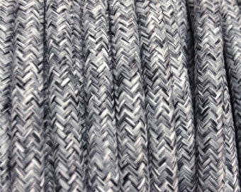 Cable electric textile gray linen - 2 strands - 0.75 mm 2