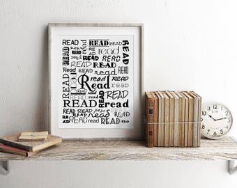English Teacher, Book Lover, Librarian Gift, Reading Decor, Book Print, Read Prints, Home Library Decor, English Major Gift, Book Decor,