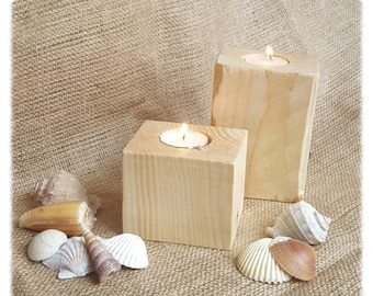 Wood Block Tea Light Holders