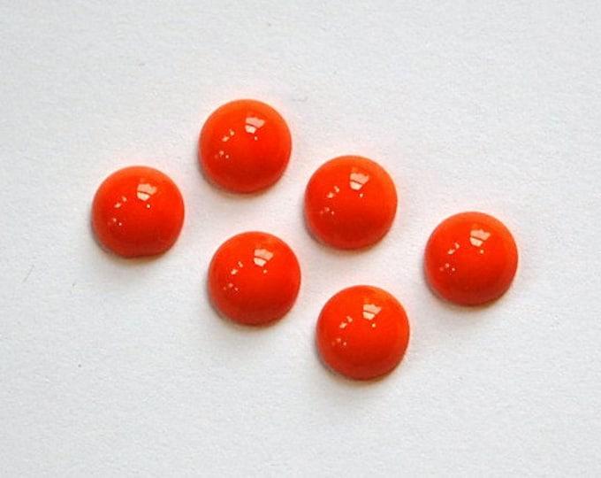 Vintage Opaque Orange Glass Cabochons 7mm cab701PP
