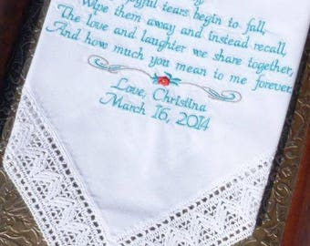 Embroidered Wedding Hankerchief, Mom, Mother of the Bride, Stepmom, Embroidered Wedding Handkerchiefs Wedding Gift, by Canyon Embroidery