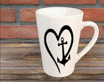 Heart Anchor Beach Sea Nautical Mug Coffee Cup Kitchen Decor Bar Gift for Her Him Jenuine Crafts
