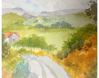 Watercolor Landscape - Country Scene 2