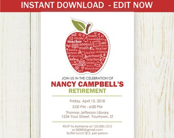 Retirement Invitation, Instant download EDIT NOW Invitation, red apple teacher retirement
