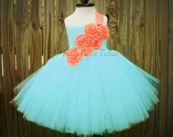 Aqua and coral Shabby Chic Flower Girl Tutu Dress