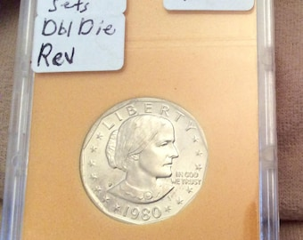Coin, 1980-P DBL Die Reverse MS-63 Susan B. Anthony One Dollar Coin