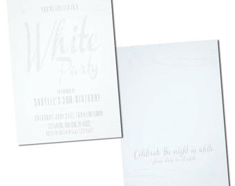 Glam, Stylish, White Party Invitations