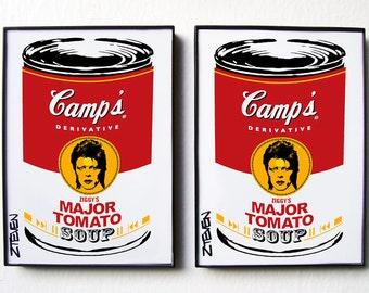 David Bowie Ziggy Stardust Pop Art Soup framed set by Zteven
