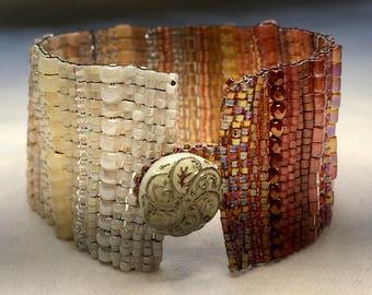 Cream-Amber Ombre Hand-Woven Beaded Bracelet
