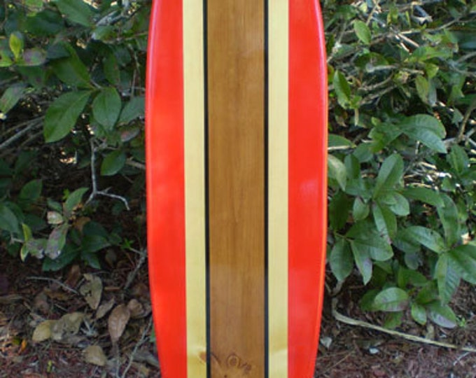 Featured listing image: Red Classic Surfboard Tropical Wood Wall Art Solid Wood Vintage Home Tropical Beach Decoration Available in 2, 3, 4, 5, and 6 foot sizes